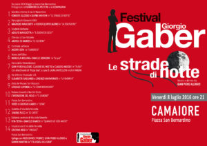 Festival Gaber 2016 - Le strade di notte @ Piazza San Bernardino - Camaiore (LU)   Lido di Camaiore   Toscana   Italia